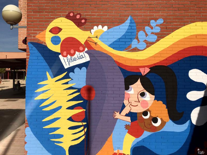 mural izas azulpatio ceip loyola de palacio infantil detalle 4