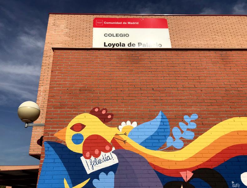 mural izas azulpatio ceip loyola de palacio infantil detalle 5