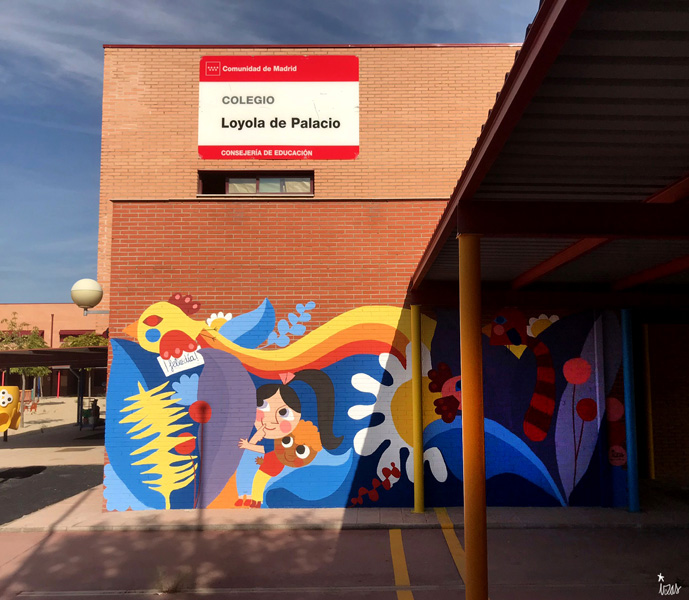 mural izas azulpatio ceip loyola de palacio infantil frente