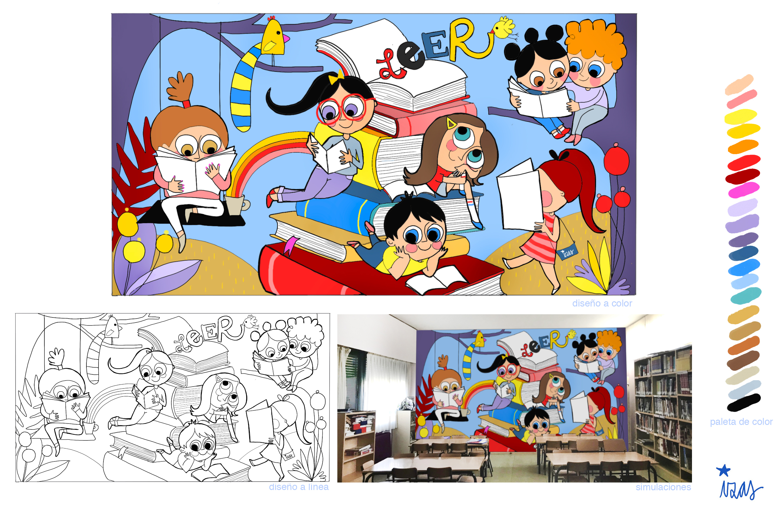 mural izas azulpatio diseño agustina díez
