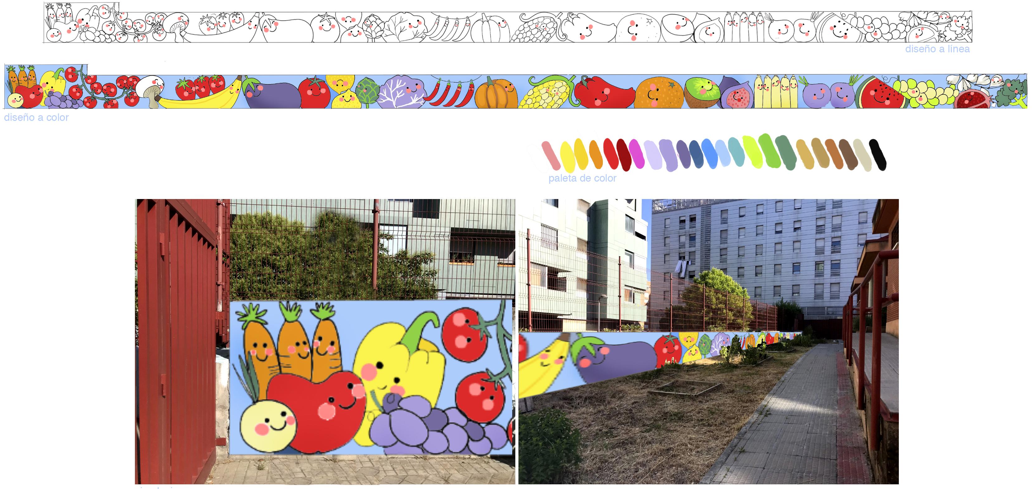 mural izas azulpatio proyecto eduardo rojo huerto