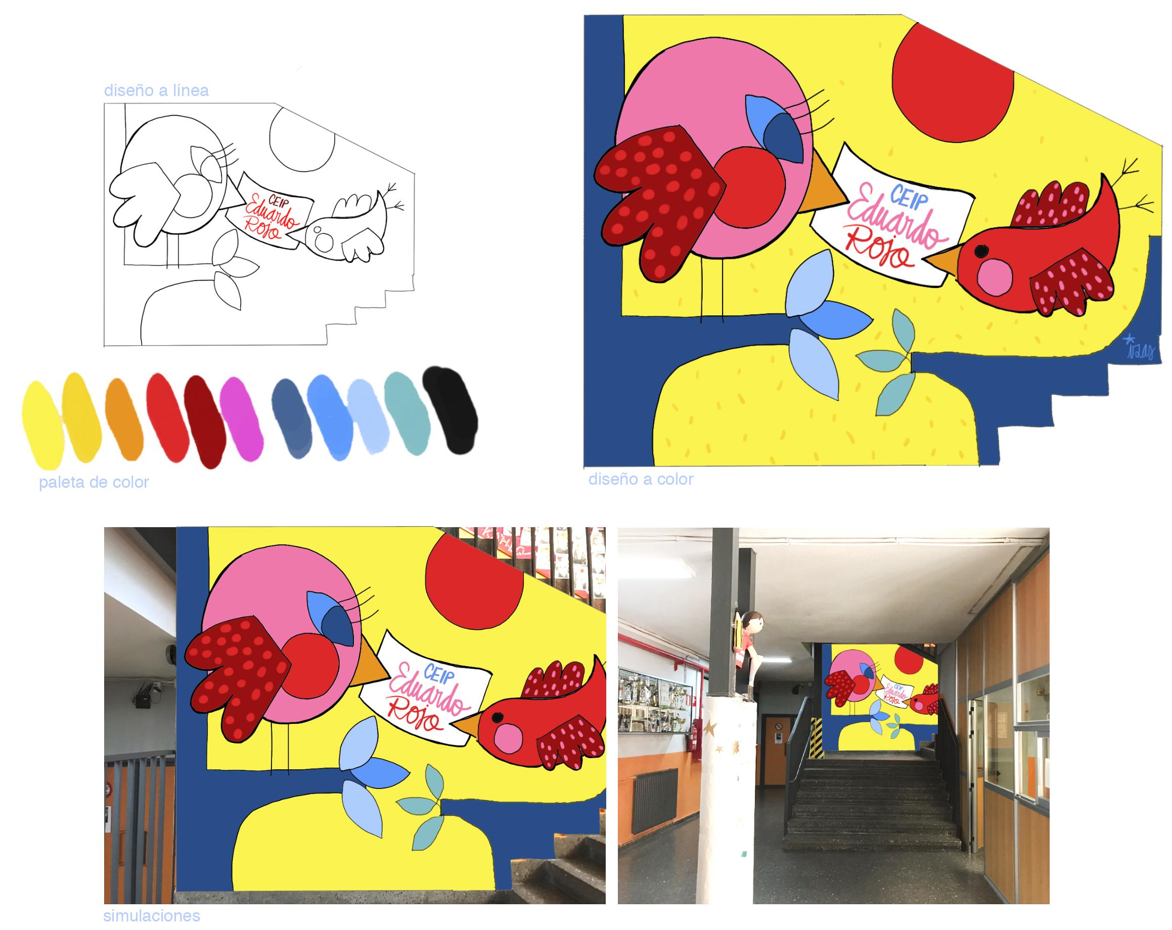 mural izas azulpatio proyecto eduardo rojo mural interior