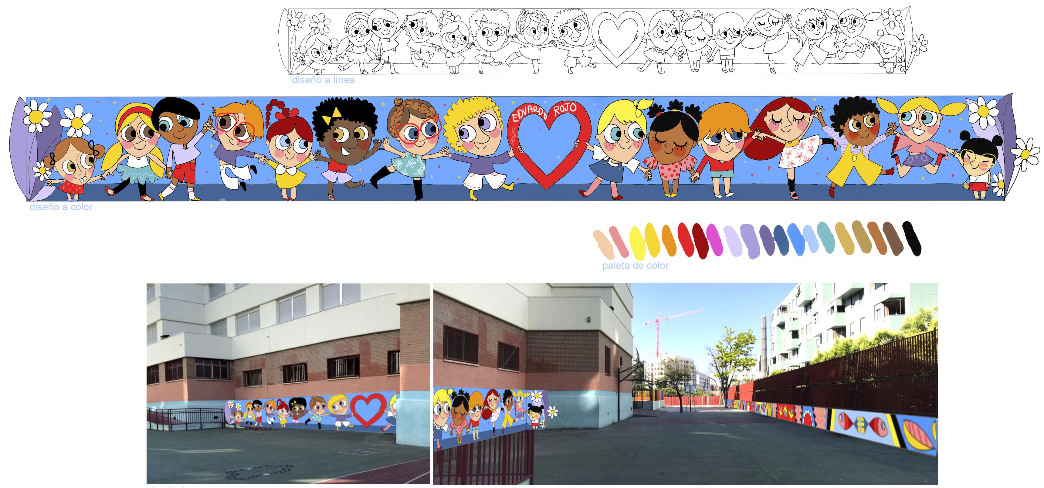 mural izas azulpatio proyecto eduardo rojo patio