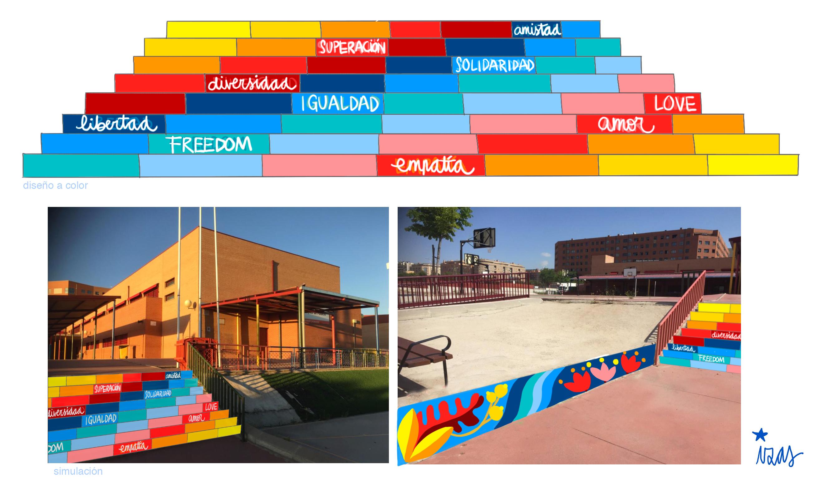 mural izas azulpatio proyecto escaleras loyola de palacio