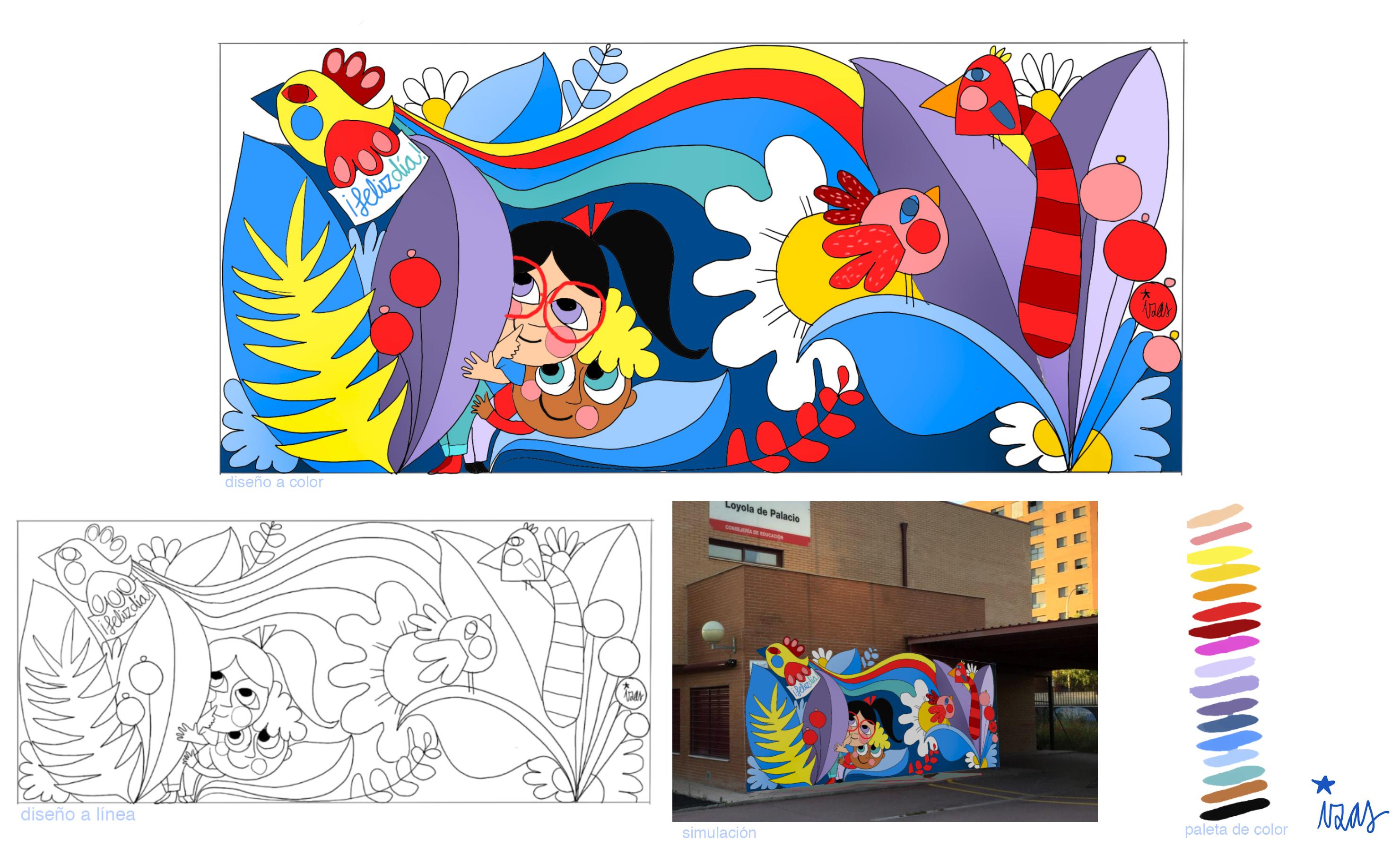 mural izas azulpatio proyecto loyola