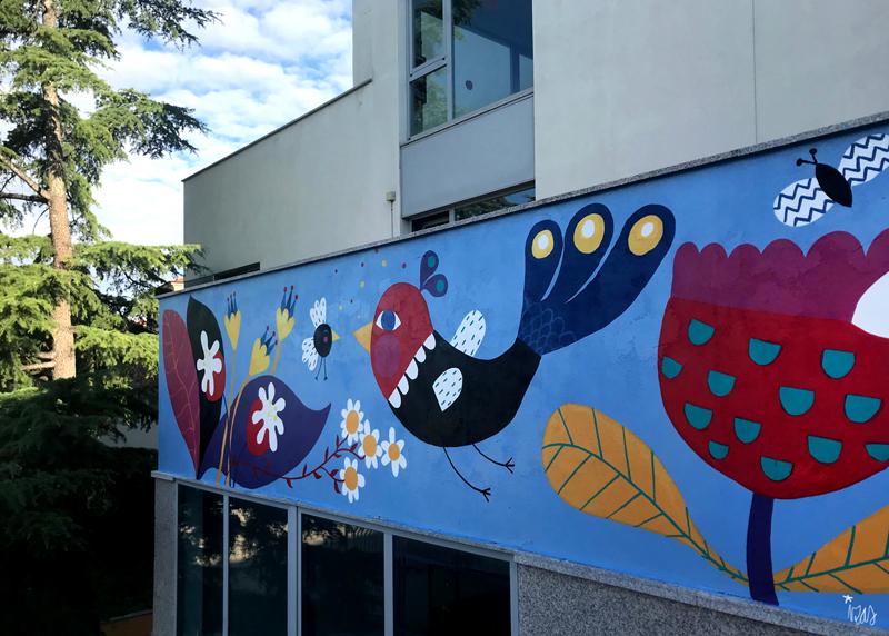 mural izas azulpatio san estanislao friso dcha 2