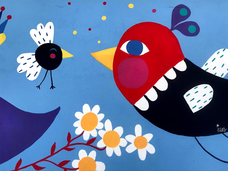 mural izas azulpatio san estanislao friso pájaro 2