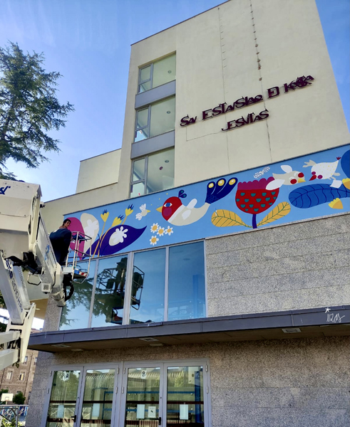 mural izas azulpatio san estanislao friso proceso
