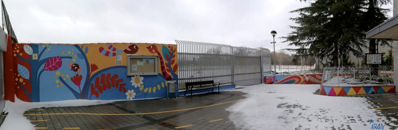 mural izas azulpatio san estanislao panorámica