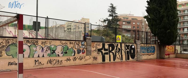 mural izas azulpatio ceip asunción rincón antes