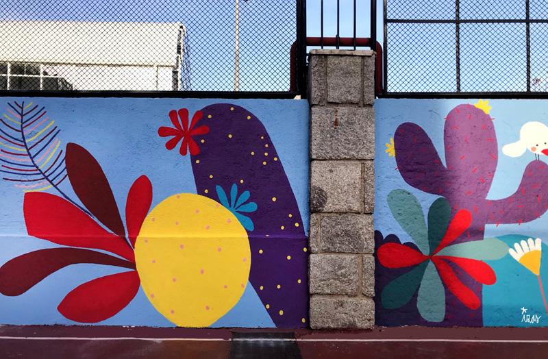 mural izas azulpatio ceip asunción rincón este 11