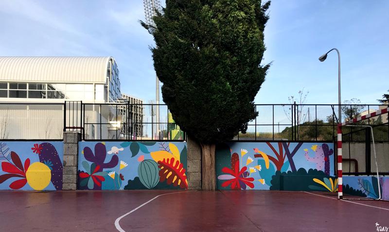 mural izas azulpatio ceip asunción rincón este 14