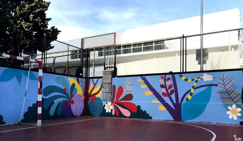 mural izas azulpatio ceip asunción rincón este 4
