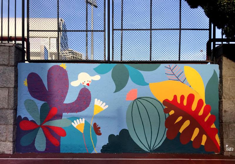 mural izas azulpatio ceip asunción rincón este 7