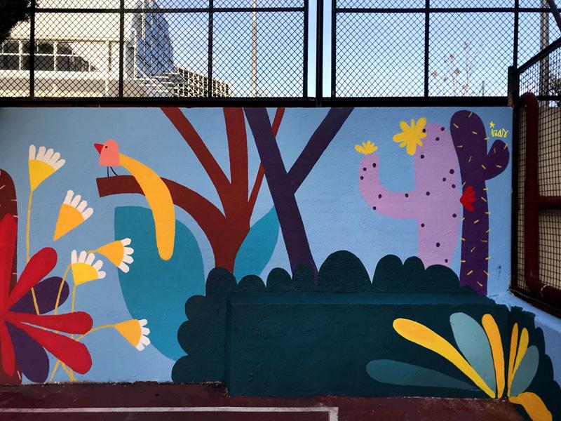 mural izas azulpatio ceip asunción rincón este 8