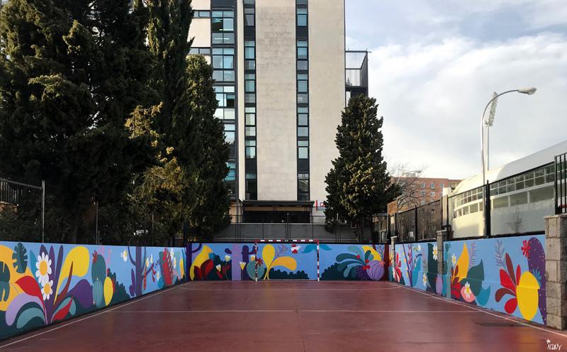 mural izas azulpatio ceip asunción rincón norte 1