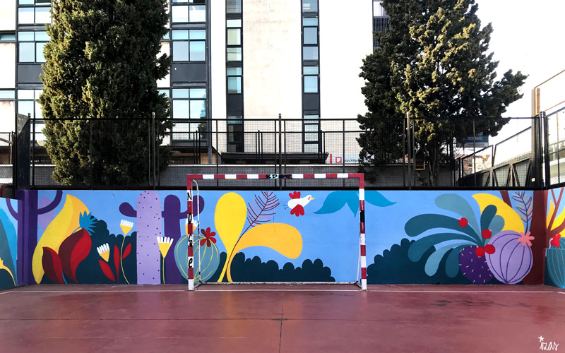 mural izas azulpatio ceip asunción rincón norte 2