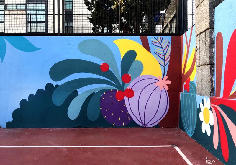mural izas azulpatio ceip asunción rincón norte 3