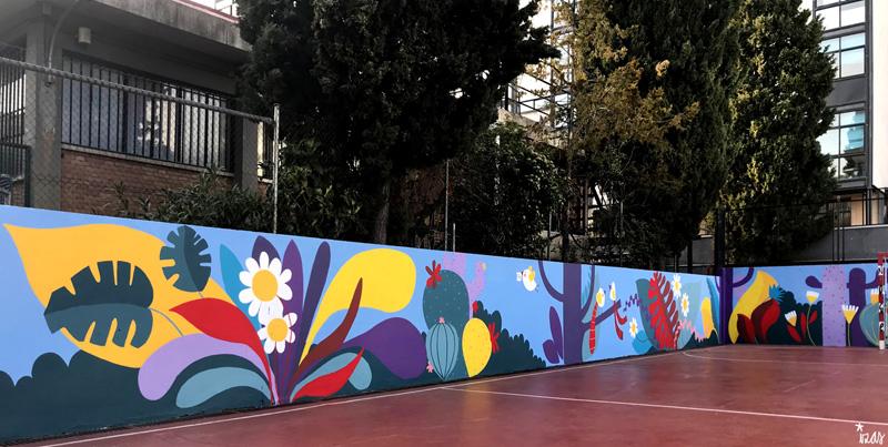 mural izas azulpatio ceip asunción rincón oeste 10