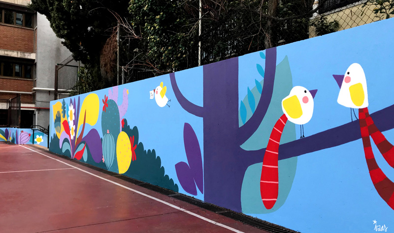 mural izas azulpatio ceip asunción rincón oeste 12