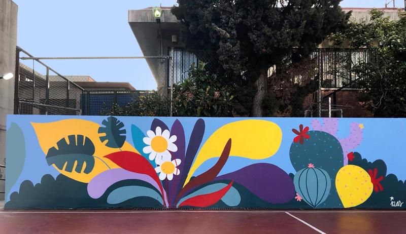 mural izas azulpatio ceip asunción rincón oeste 8