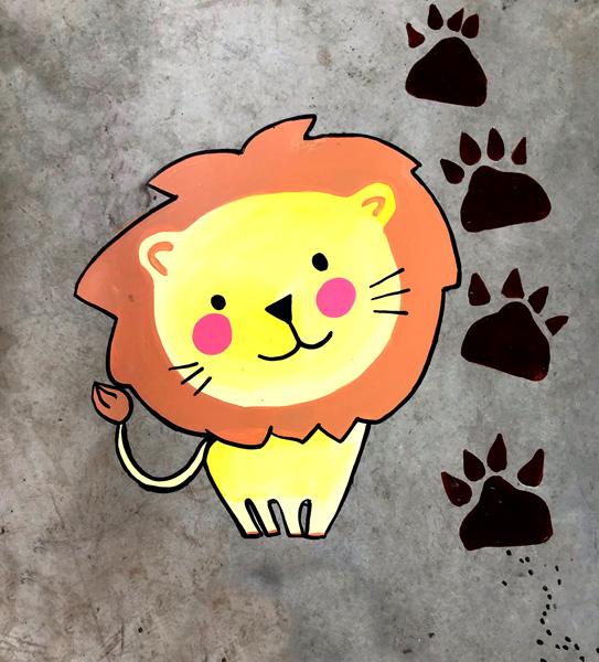 mural izas azulpatio ceip buenaventura gonzález cirtuito león