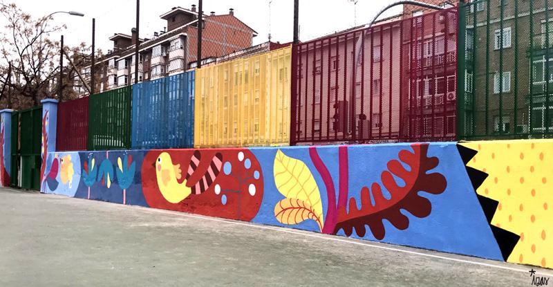 mural izas azulpatio ceip juan ramón jiménez dcha 2