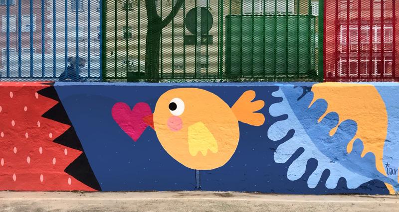 mural izas azulpatio ceip juan ramón jiménez detalle 11