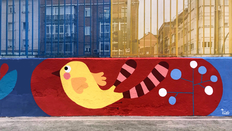 mural izas azulpatio ceip juan ramón jiménez detalle 5
