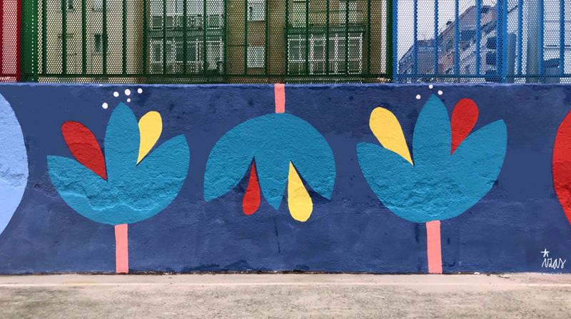 mural izas azulpatio ceip juan ramón jiménez detalle 6