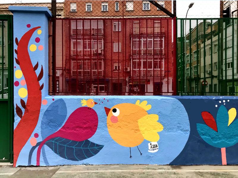 mural izas azulpatio ceip juan ramón jiménez detalle 7