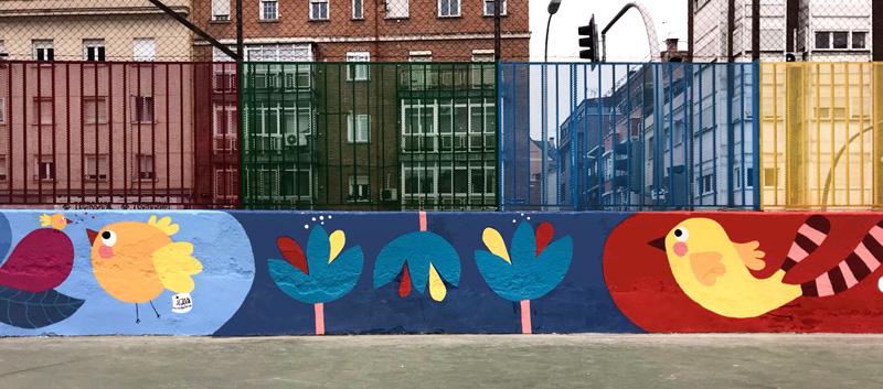 mural izas azulpatio ceip juan ramón jiménez detalle 8