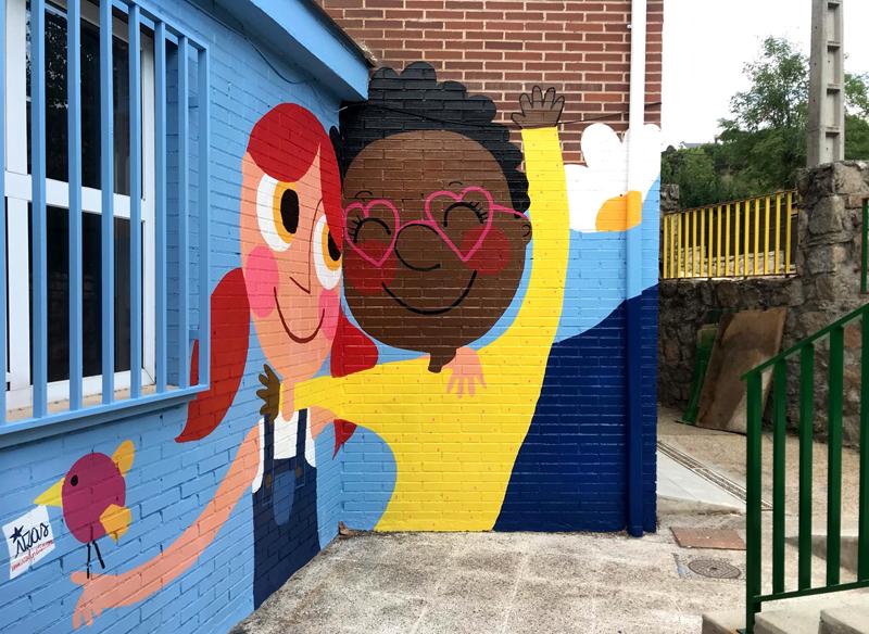 mural izas azulpatio ceip virgen de la paz 4