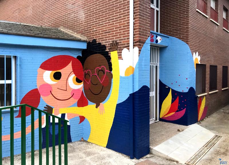 mural izas azulpatio ceip virgen de la paz 5