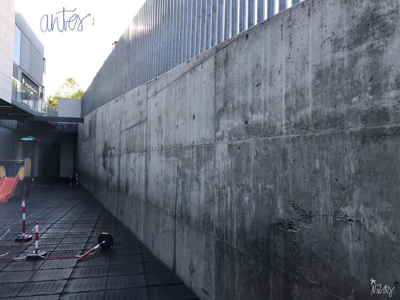 mural izas azulpatio colegio maria teresa antes