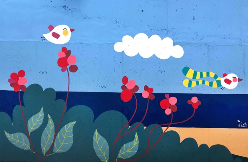 mural izas azulpatio colegio maria teresa detalle 10