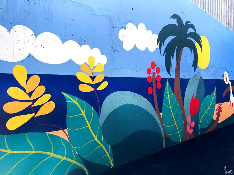 mural izas azulpatio colegio maria teresa detalle 11