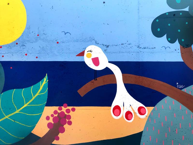 mural izas azulpatio colegio maria teresa detalle 4