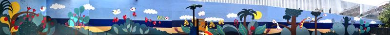 mural izas azulpatio colegio maria teresa montaje
