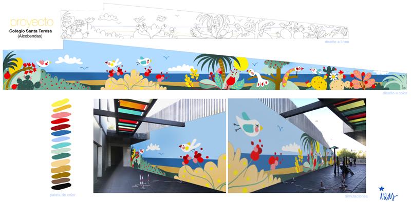 mural izas azulpatio colegio maria teresa proyecto