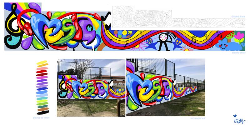 mural izas azulpatio cpee monte abantos diseño música