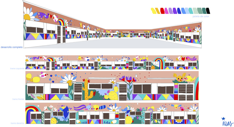mural izas azulpatio cpee monte abantos proyecto infantil