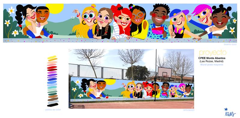 mural izas azulpatio cpee monte abantos proyecto mayores