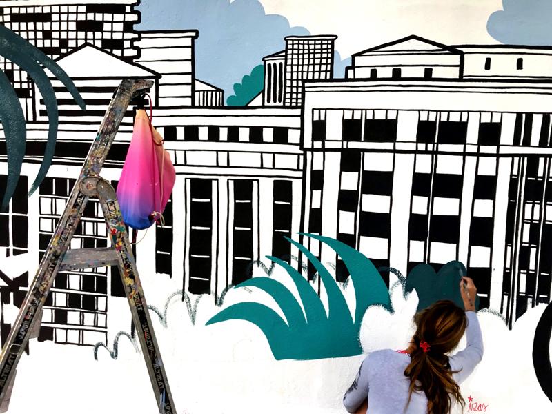 mural izas azulpatio mass arquitectura proceso 14
